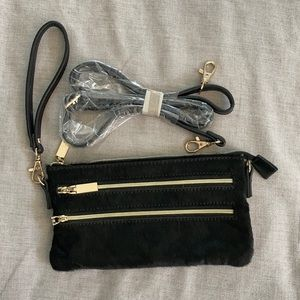 Black / Gold faux fur wristlet